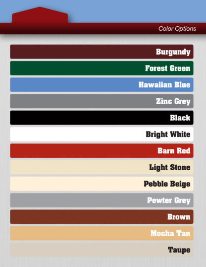 Metal on Metal Shed color sheet.