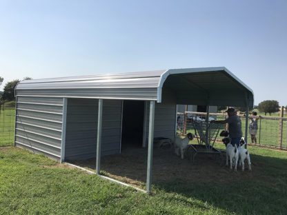 18x20 Livestock Shelter, 10' enclosed